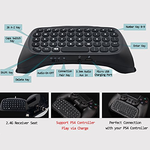 Megadream 2.4G Wireless Keyboard Keypad for Sony Playstation 4 PS4 Slim Pro DualShock Controller with 2.4G Receiver Adapter, Support 3.5mm Audio Headset and PS4 Controller Instant Charge Function