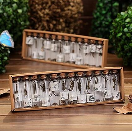 12 minibotellas de cristal a la moda, colgante de metal, botella de deseos de