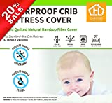 Undyed Bamboo Baby Crib Mattress Cover 28''x52''+9'' Waterproof for Maximum Leak Protection And Dry Easier Plus Hypoallergenic.Protection For Mattress,Very Soft & Extremely Absorbent Quilted & Fitted.
