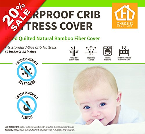 Undyed Bamboo Baby Crib Mattress Cover 28''x52''+9'' Waterproof for Maximum Leak Protection And Dry Easier Plus Hypoallergenic.Protection For Mattress,Very Soft & Extremely Absorbent Quilted & Fitted. by Christies Home Living