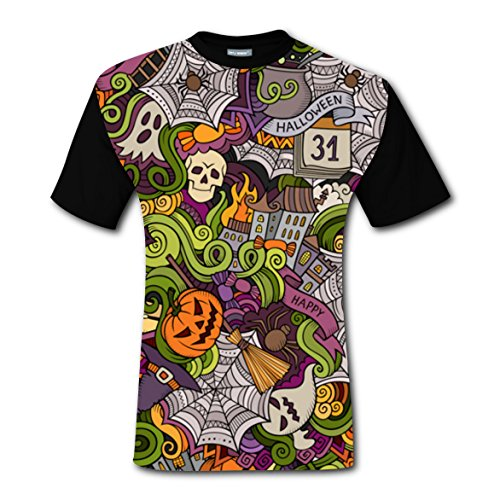 Halloween Elements T-shirts Tee Shirt for Men Costume Round Black XL