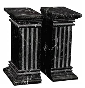 Large Black Marble Column Bookends, Heavy Stone Office Bookends