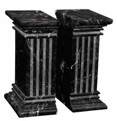 Superbe Large Black Marble Column Bookends, Heavy Stone Office Bookends