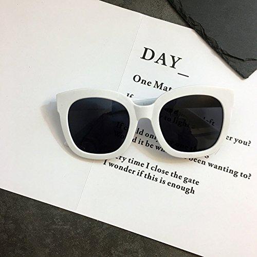 VVIIYJ sol Makeup Beige Box Glasses white Concave Sunglasses Plain Gafas de r8rqE7