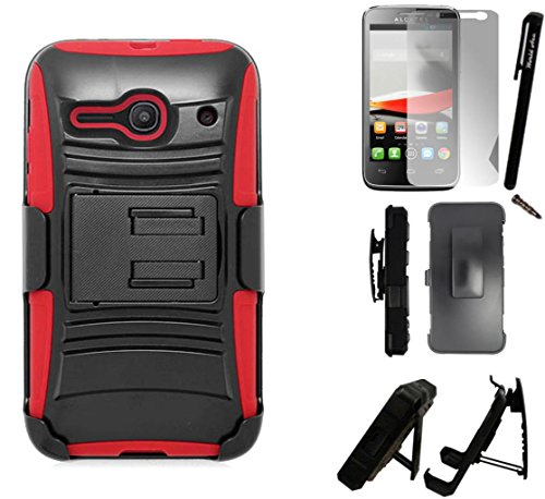 - For Alcatel One Touch Pixi Pulsar LTE Phone Case A460G Advanced Armor Hybrid Soft Silicone Cover Plastic Kick Stand with Holster+LCD Screen Protector+Stylus+Dust Cap Free Gift (Black/Red)
