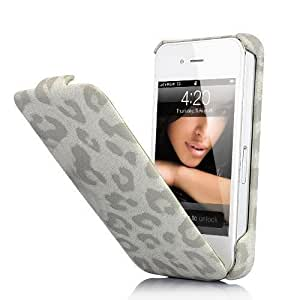 Leopard Genuine Leather Flip Case For iPhone 4 / 4S - White