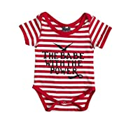Infant Girls Boys Clothes Striped Romper Letter Print Jumpsuit Overall Outfit Set 0-18M (6-12M)