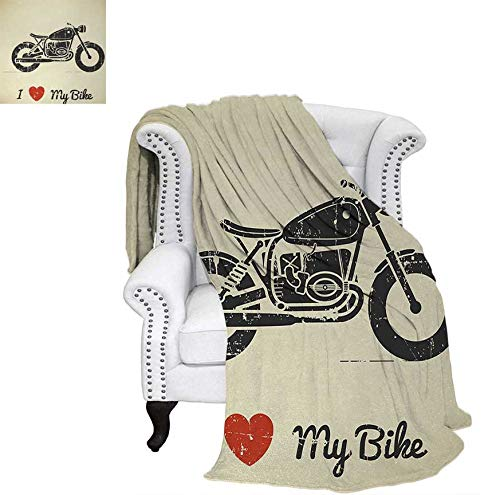 Throw Blanket Vintage Grunge Flat Looking Motorcycle and I Love My Bike Text Silhouette Velvet Plush Throw Blanket 70