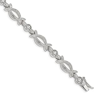 925 Sterling Silver Cubic Zirconia Cz Bracelet 7.25 Inch Fine Jewelry For Women Gifts For Her