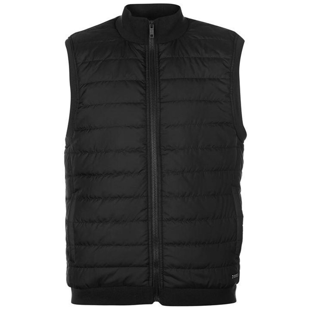 Pierre Cardin Mens Quilted Fleece Lightweight Full Zip Gilet Bodywarmer with Ribbed Collar and Hem