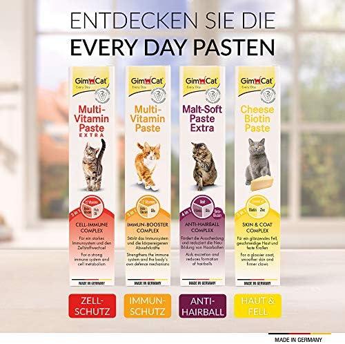 GimCat Pâte Multi-Vitamin Extra – Snack pour chats avec du bêta-glucane, des oméga-3 et oméga-6 pour une protection cellulaire saine – 1 tube (1 à 50 g)