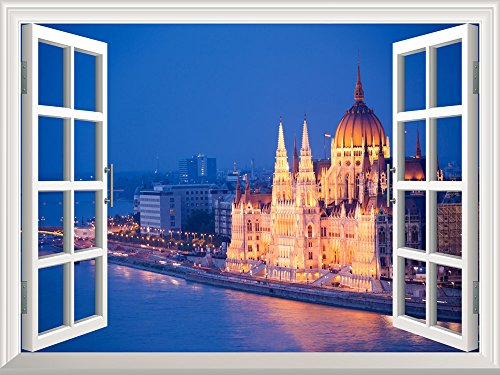 Removable Wall Sticker Wall Mural Beautiful View of a Grand Palace by a River at Night Creative Window View Wall Decor