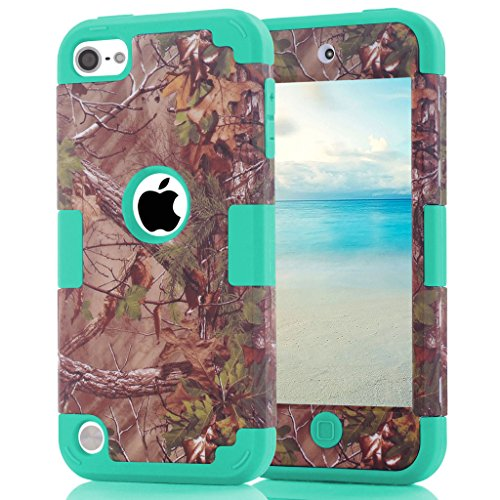 iPod touch 6th Generation Case, Hocase Camouflage Series Shockproof Hybrid Silicone Rubber Bumper+Hard Shell Dual Layer Protective Case for iPod touch 5th/6th Generation - Camo+Teal (Touch 5 Ipod Camo)