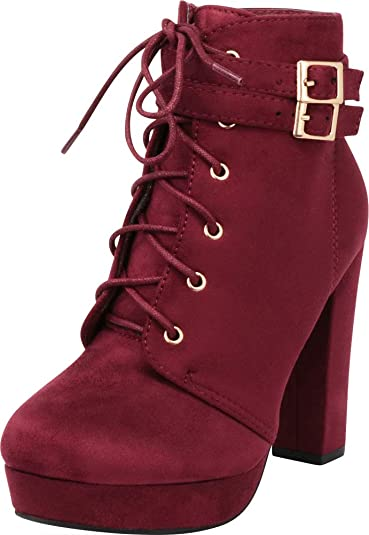 67242a808e6 Cambridge Select Women s Strappy Double Buckle Lace-up Platform Chunky High  Heel Ankle Bootie