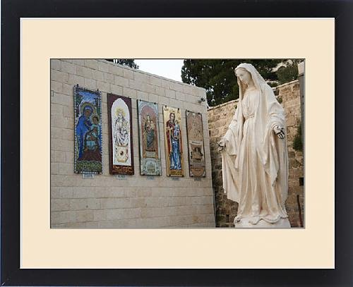 Framed Print of Statue of the Virgin Mary, mother of Jesus Christ, greets pilgrims and by Fine Art Storehouse