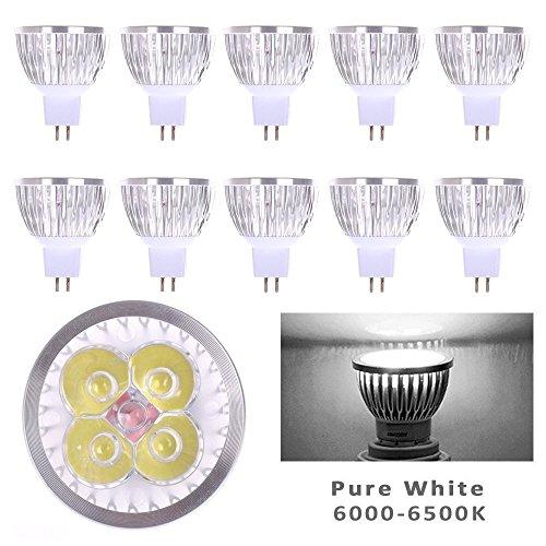 Lot of 10 PCS 12V 4W MR16 LED Bulbs - 6000K Daylight LED Spotlights -35Watt Equivalent - 330 Lumen 60 Degree Beam Angle for Landscape, Recessed, Track lighting (Led Track Lighting Bulbs compare prices)