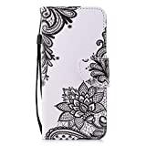 Cfrau Leather Case with Black Stylus for Samsung Galaxy A8 Plus 2018,Cute Design Wallet Flip PU Leather Card Slots Kickstand Hand Strap with Soft TPU Case for Galaxy A8 Plus 2018 - Black Lace Flower