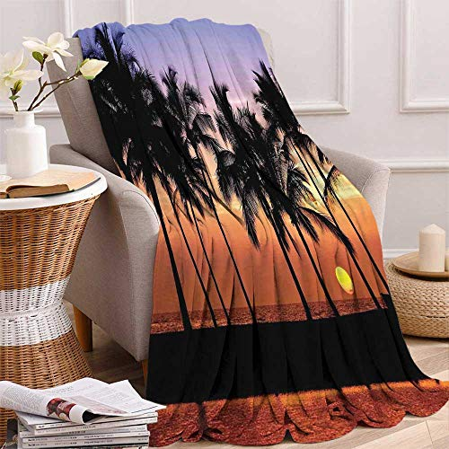 maisi Hawaiian Decorations Custom Design Cozy Flannel Blanket Hawaiian Sunset on Big Island Anaehoomalu Bay Tropic Horizon Ocean Romantic Resort Lightweight Blanket Extra Big 70