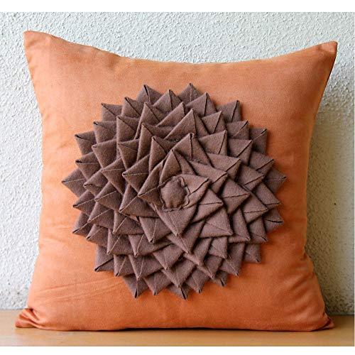 "Orange Decorative Pillows Cover, Applique Flower Medallion Floral Theme Pillows Cover, 16""x16"" Decorative Pillow Covers, Square Felt Throw Pillows Cover, Floral Modern Pillow Cases - Warm Summer"
