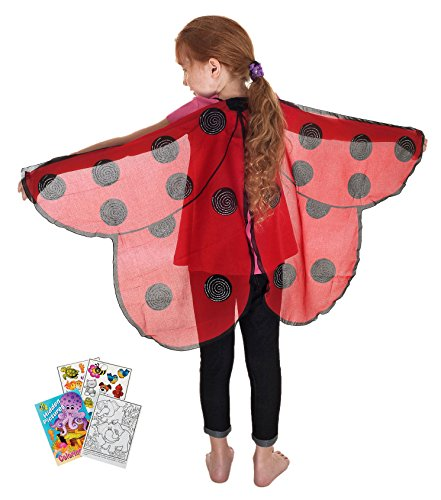 Ladybug Costume Wings (Douglas Toys Dreamy Dress-Ups 50566 Red Ladybug Wings with Coloring Book)