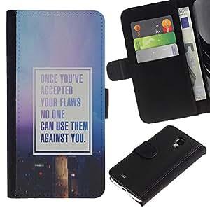 KingStore / Leather Etui en cuir / Samsung Galaxy S4 Mini i9190 / Texto cita de motivación púrpura