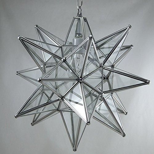 Moravian Star Pendant Light, Clear Glass, Silver Frame, 16