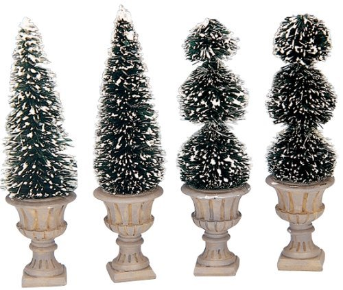 Lemax Village Collection Cone-shaped & Sculpted Topiaries Set of 4 - Topiary Spring
