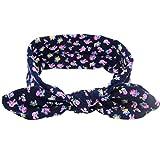 Baby Girl Headband,kaifongfu Rabbit Ears Elastic Flowers Bowknot Headband (Navy)