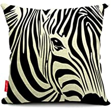 Kingla Home Throw Pillow Cover Animal Style Sofa Cushion Covers 18 X 18 Inch Zebra Cotton Zippered Pillow Cases Couch Cushions