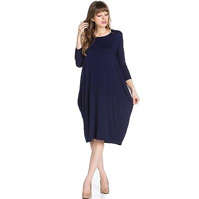 12 Ami Round Neck 3/4 Sleeve Tulip Hem Midi Dress (S-XXL) - Made In USA