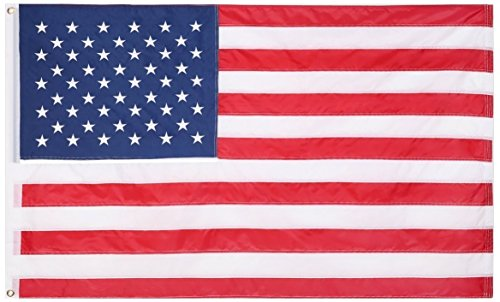 - HYT American Flag 3x5 ft, Long Lasting Durable Polyester Cloth Large U.S. Flag UV Protected for Outdoor/Outside Use - Embroidered Stars, Sewn Stripes and Brass Grommets Strengthened