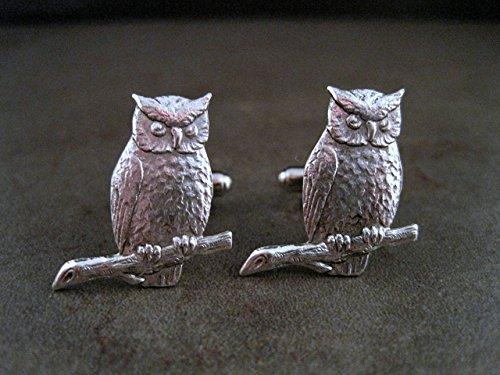 Handmade Steampunk Oxidized Silver Owl Cuff Links