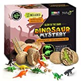 Nature Gear Glow in The Dark - 12 Mystery Excavation Adventure Dinosaur Eggs Kit - Science STEM Learning Kids Activity