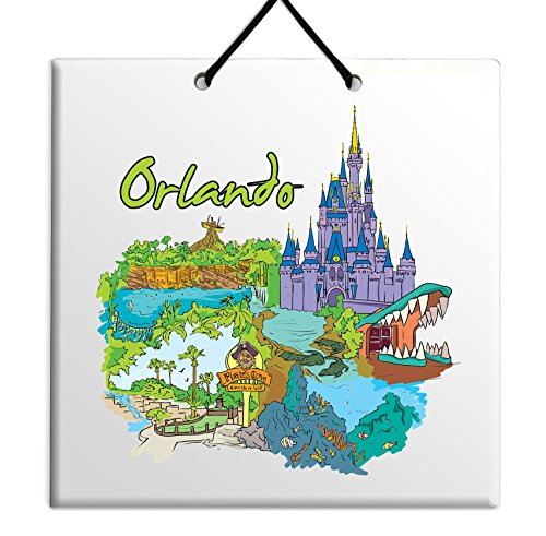 Body-Soul-n-Spirit Orland Walt Disney World Magic Kingdom Universal Orlando Epcot tile decor gift souvenir sign ceramic wall plaque - fabulous city gift for home USA Florida