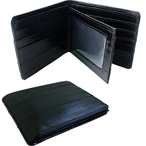 Rainbow Men's Genuine Eel Skin Leather Credit Card Bifold Wallet Black