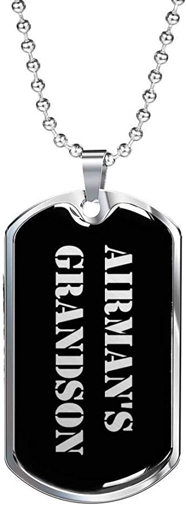 Unique Gifts Store Airmans Grandson v2 Luxury Dog Tag Necklace