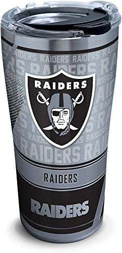 Tervis 1266672 NFL Oakland Raiders Edge Stainless Steel Tumbler with Clear and Black Hammer Lid 20oz, Silver ()