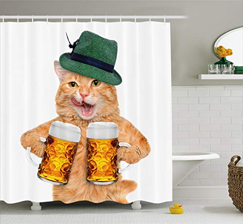 (Ambesonne Cat Shower Curtain, Cool Cat with Hat and Beer Mugs Bavarian German Drink Festival Tradition Funny Humorous, Cloth Fabric Bathroom Decor Set with Hooks, 75