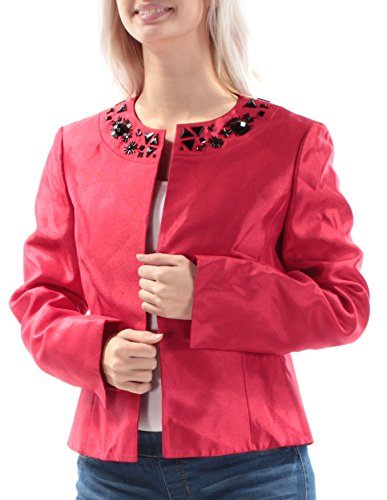 Kasper Women's Shiny Shantung Flyaway Jacket, Fire Red, (Shantung Blazer)