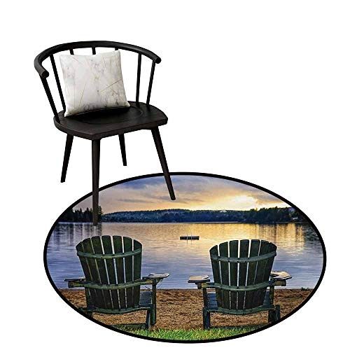 - Round Area Rug Seaside Two Wooden Chairs on Relaxing Lakeside at Sunset Algonquin Provincial Park Canada Door mat Indoors Bathroom Mats Non Slip D27.5 Navy Green