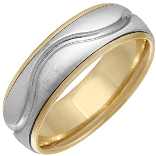 18K Two Tone Gold Wave Women's Comfort Fit Wedding Band (6.5mm) Size-6c1 (Two Gold Tone Wave)