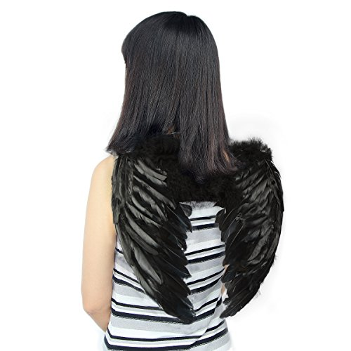 Guardian Angel Child Costumes (Yuda Angel Wings Feather Child Cosplay Halloween Party Costumes (Black / 17.7