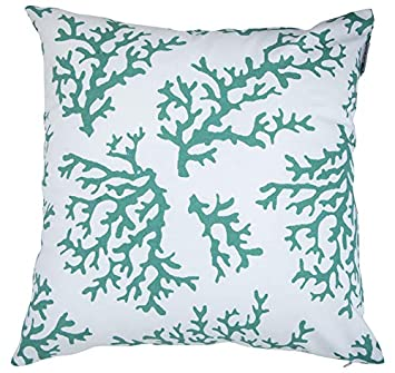 Accent Home Square Printed Cotton Cushion Cover,Throw Pillow Case Slipover Pillowslip for Home Sofa Couch Chair Back Seat,2pc Pack 18x18 Inverse Combination in Teal Color