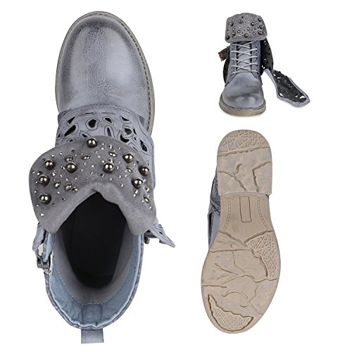 Stiefelparadies Damen Stiefeletten Biker Boots Nieten Cut Outs Leder-Optik Schuhe Flandell Blau Amares