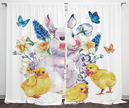 PUTIEN Satin Window Drapes Curtains [ Cartoon,Vintage Easter Illustration with Happy Cute Bunny Chickens Flowers and,Yellow Blue ] Window Curtain Window Drapes for Living Room Bedroom Dorm Room C -