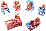 WolVol Set of 6 Mini Dolls with Cradle, High Chair, Walker, Swing, Bathtub, Infant seat