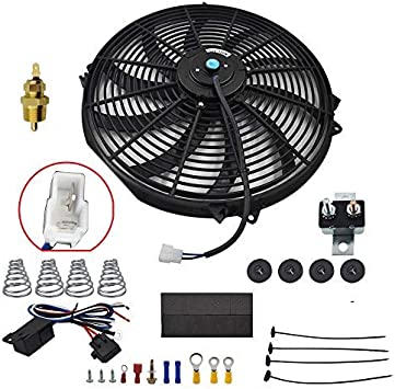 yjracing 16 Inch Electric Radiator Cooling Fan Mounting Kit /& 175-185 Degree Thermostat Relay Switch Kit Black