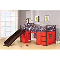 ACME Furniture 37270 Willie Loft Bed with Slide & Tent, Brown Coffee