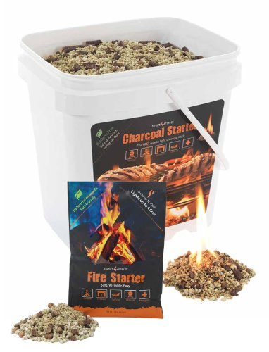 InstaFire 2-Gallon Bucket of Eco-Friendly Granulated Bulk Charcoal Briquette Starter and One Pack of Fire Starter Review