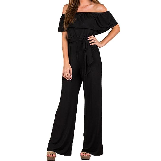 88da693ad112 Orangeskycn Women Jumpsuits Elegant Wide Leg Off Shoulder High Waist Long  Pants Romper Black